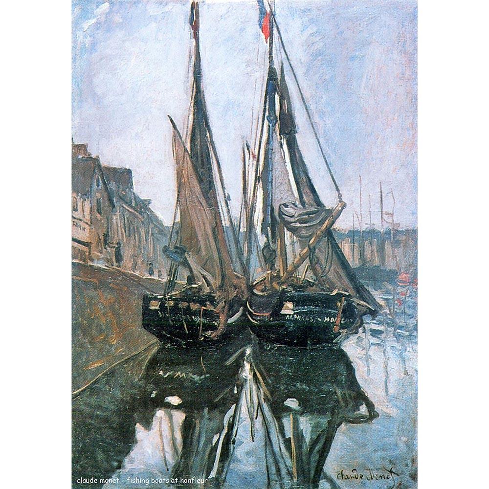 Pôster Decorativo A4 Fishing Boats at Honfleur - Claude Monet Cosi Dimora