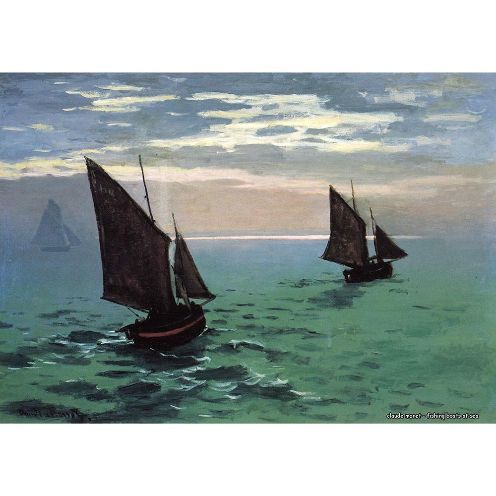 Pôster Decorativo A4 Fishing Boats at Sea - Claude Monet Cosi Dimora
