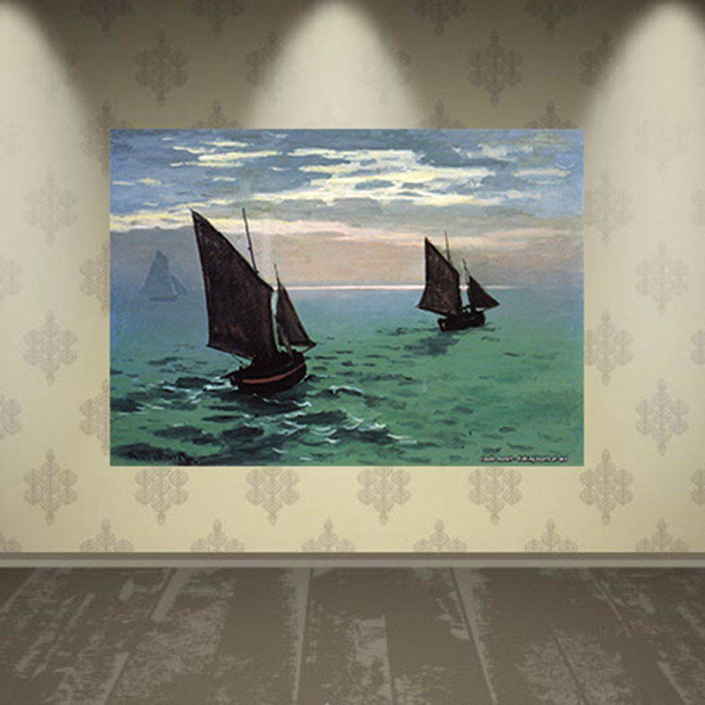 Pôster Decorativo A4 Fishing Boats at Sea - Claude Monet Cosi Dimora