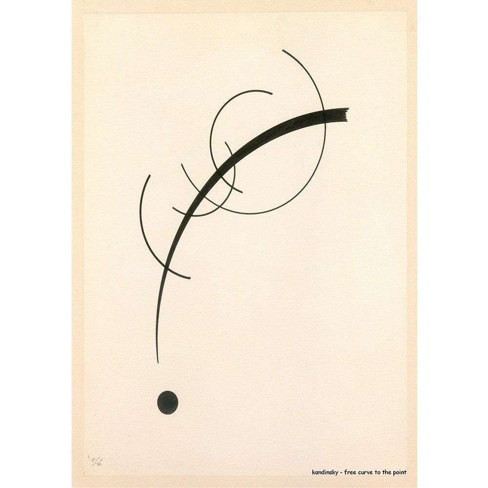 Pôster Decorativo A4 Free Curve to the Point - Kandinsky Cosi Dimora