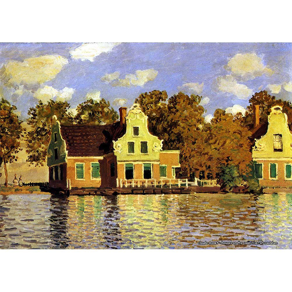 Pôster Decorativo A4 Houses on the Zaan River at Zaandam - Claude Monet Cosi Dimora