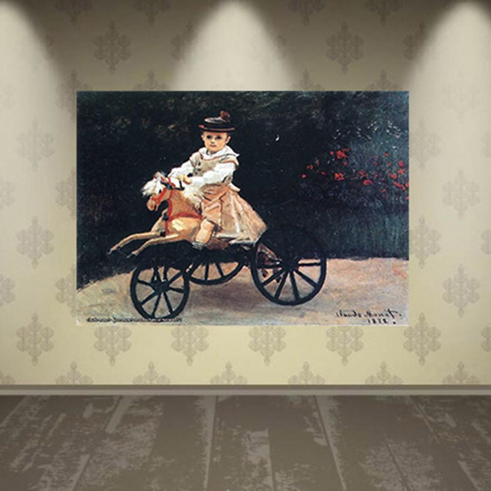Pôster Decorativo A4 Jean Monet on a Mechanical Horse 1872 - Claude Monet Cosi Dimora
