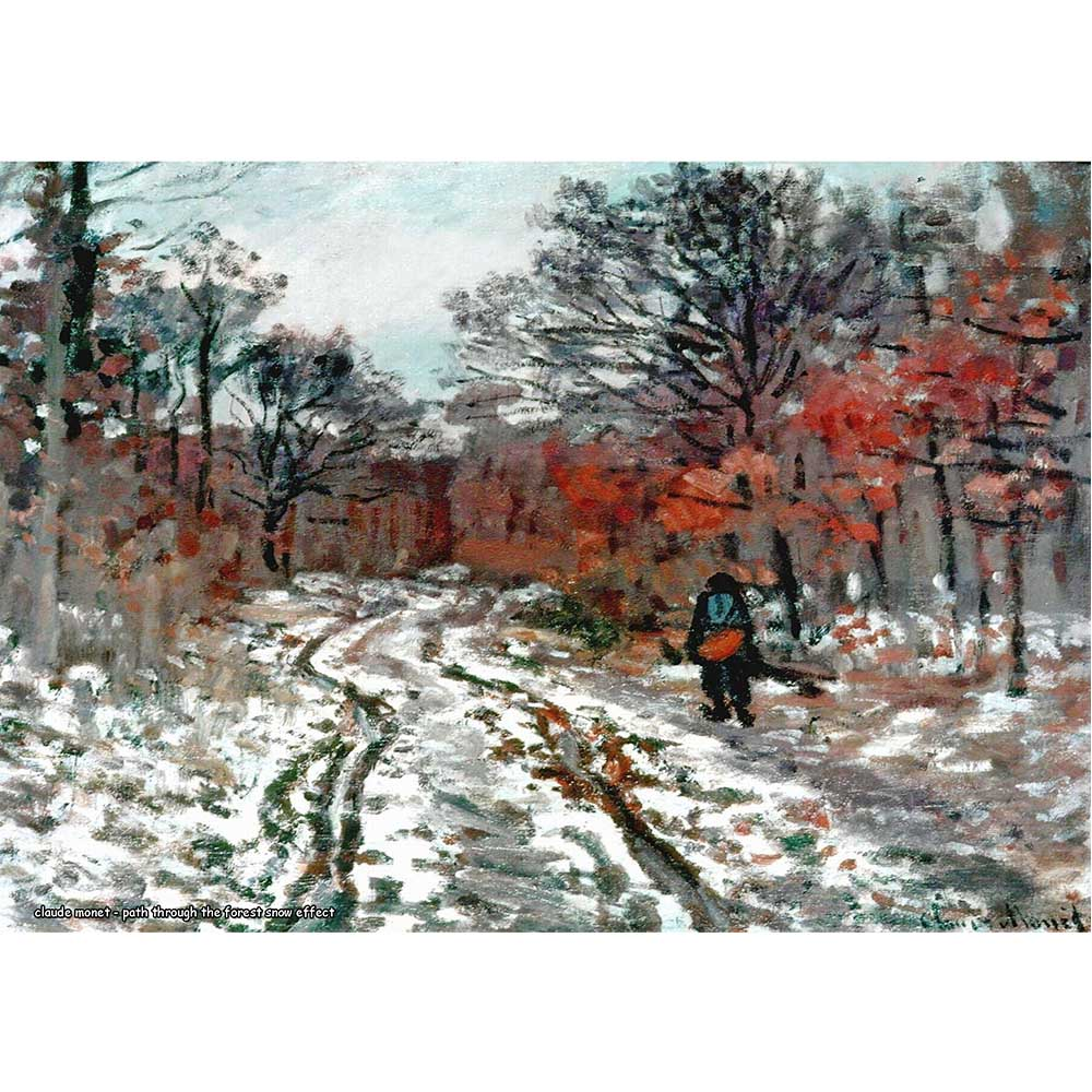 Pôster Decorativo A4 Path Through the Forest Snow Effect - Claude Monet Cosi Dimora