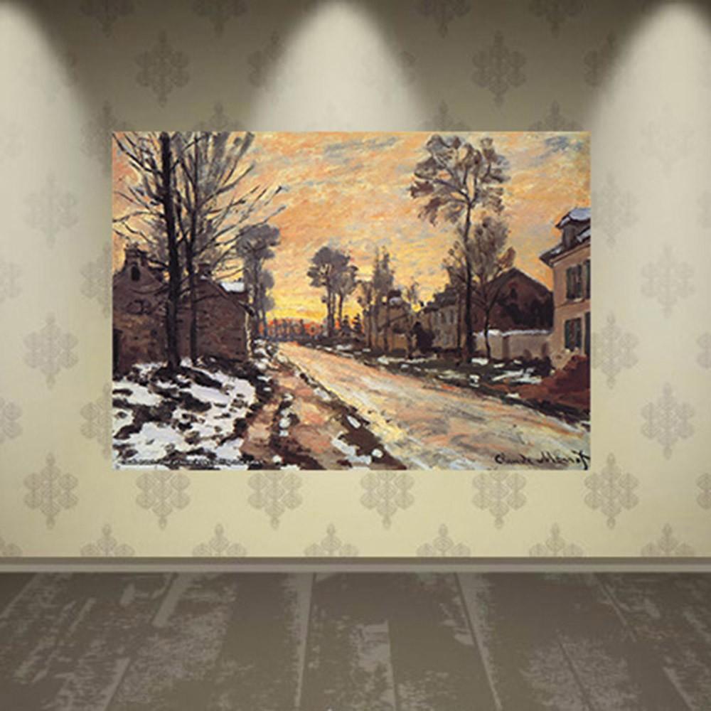 Pôster Decorativo A4 Road at Louveciennes Melting Snow Sunset - Claude Monet Cosi Dimora