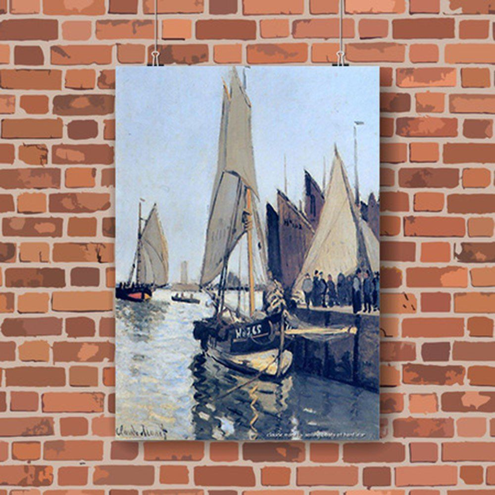 Pôster Decorativo A4 Sailing Boats at Honfleur - Claude Monet Cosi Dimora