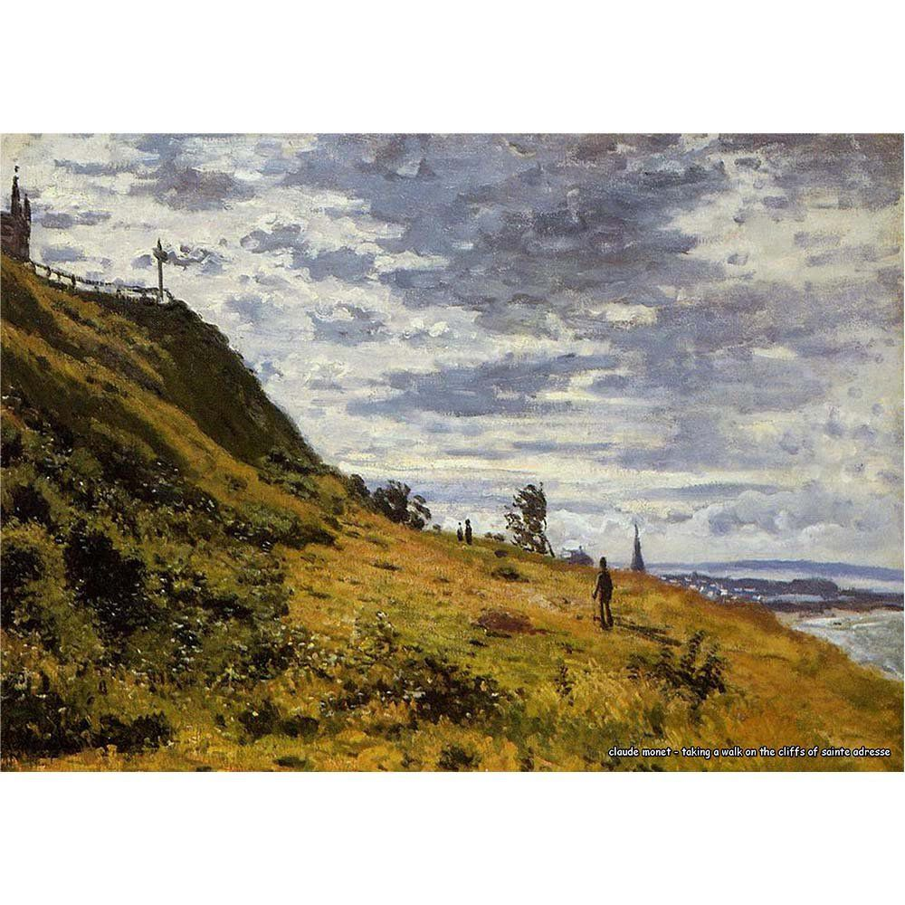 Pôster Decorativo A4 Taking a Walk on the Cliffs of Sainte Adresse - Claude Monet Cosi Dimora