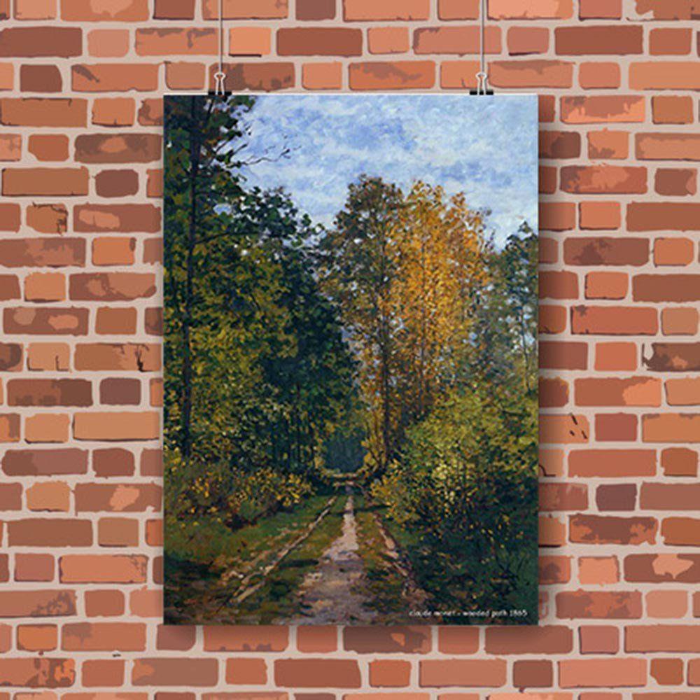 Pôster Decorativo A4 Wooded Path 1865 - Claude Monet Cosi Dimora