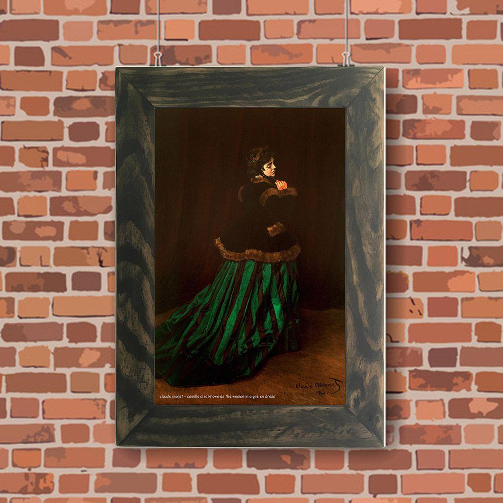 Quadro Decorativo A4 Camille Also Known as the Woman in a Green Dress - Claude Monet Cosi Dimora