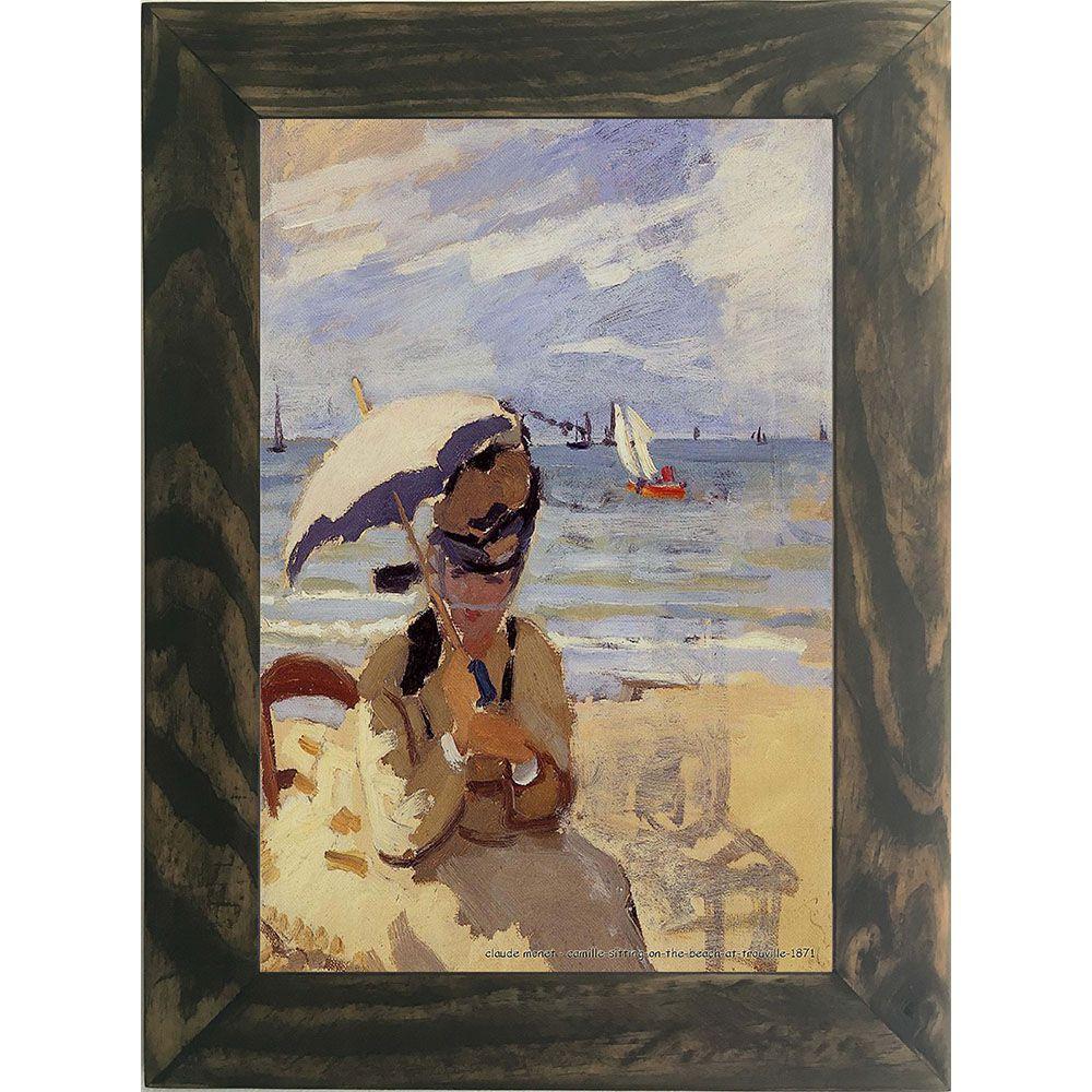 Quadro Decorativo A4 Camille Sitting on the Beach at Trouville 1871 - Claude Monet Cosi Dimora