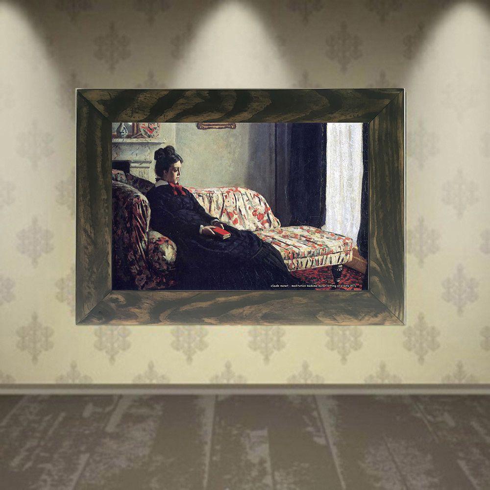 Quadro Decorativo A4 Meditation Madame Monet Sitting on a Sofa 1871 - Claude Monet Cosi Dimora