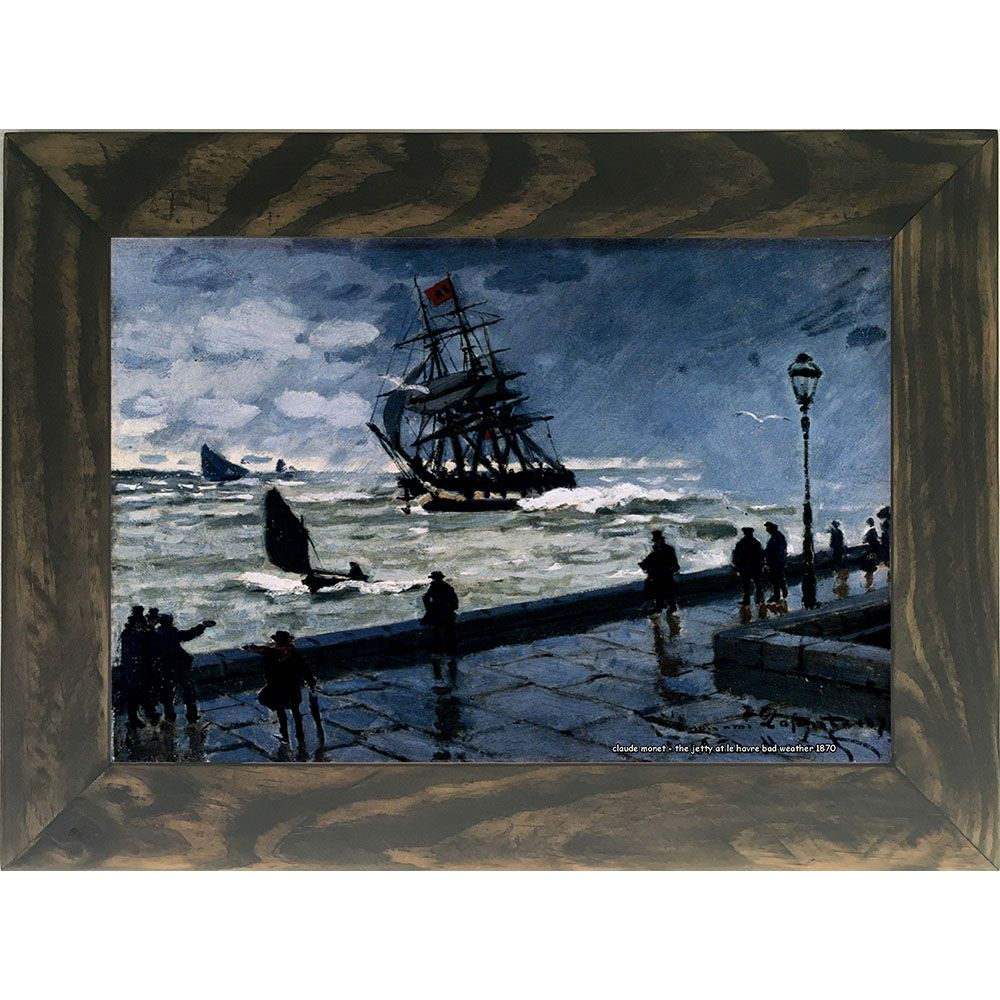 Quadro Decorativo A4 The Jetty at Le Havre Bad Weather 1870 - Claude Monet Cosi Dimora