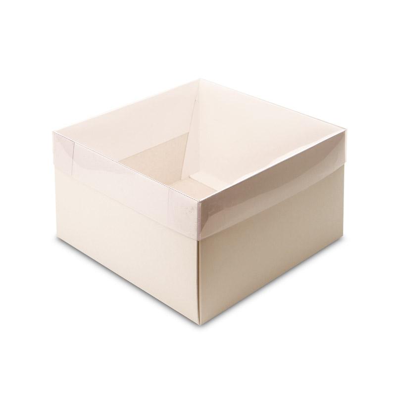 Caixa em Papel Branco com Tampa em Acetato Transparente (M)