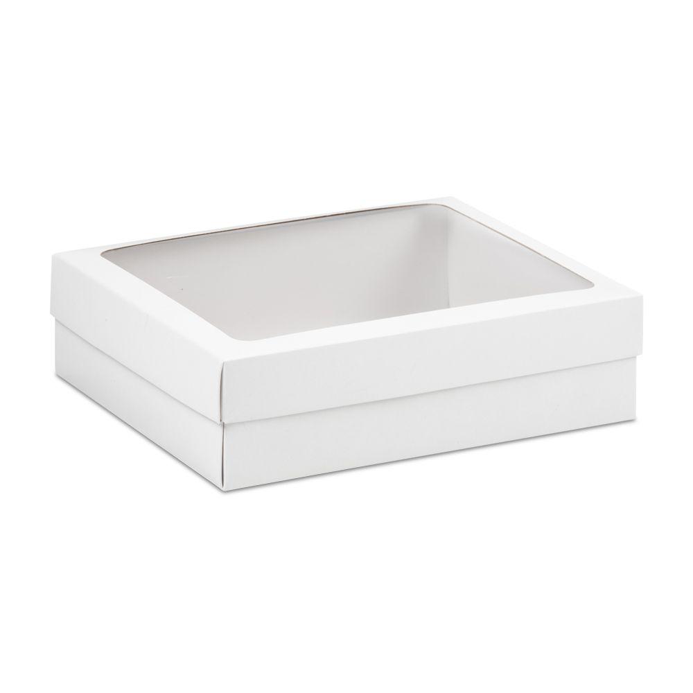 Caixa presente branca com visor retangular para montagem de Kits