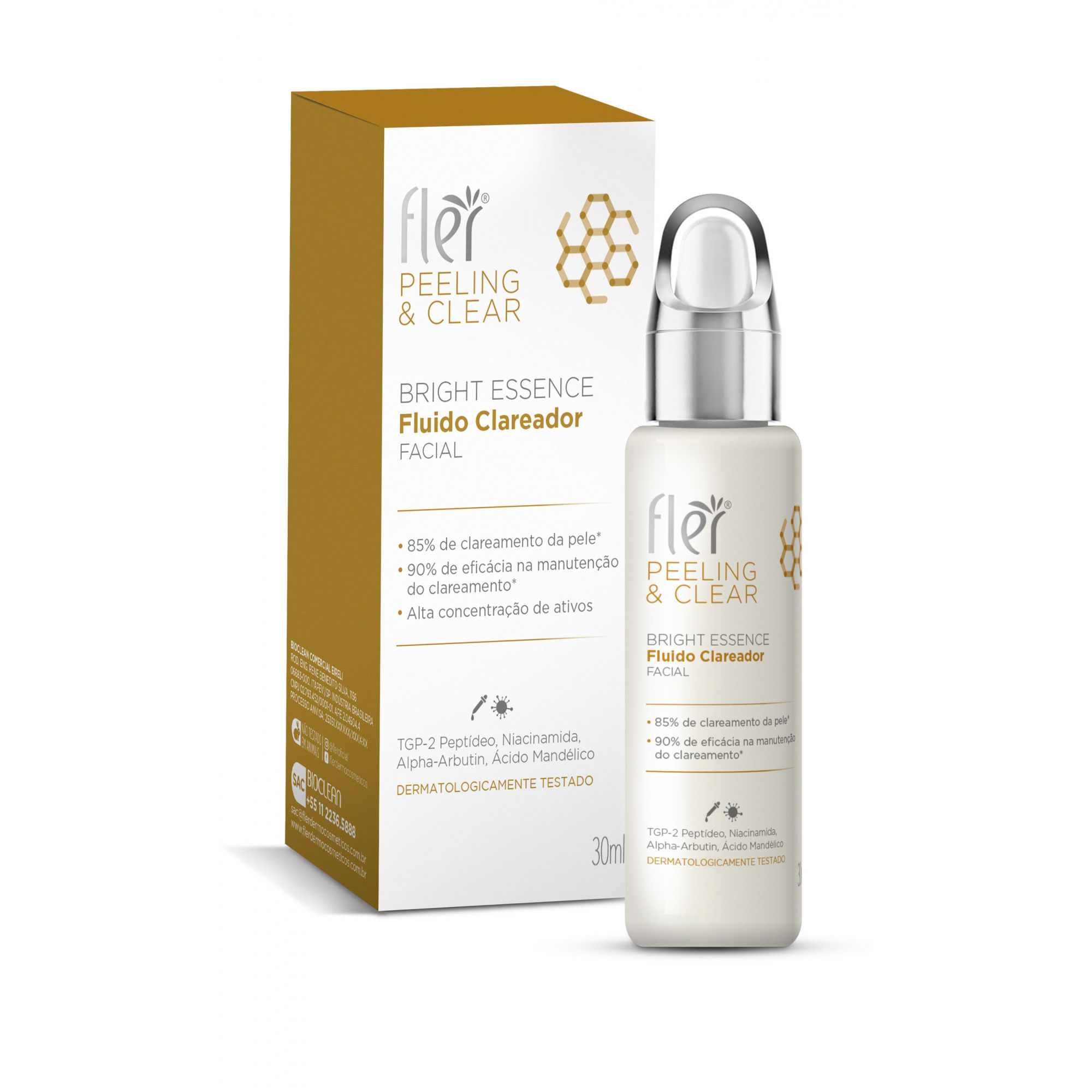 Fluido Clareador Bright Essence Peeling e Clear Flér | 30ml