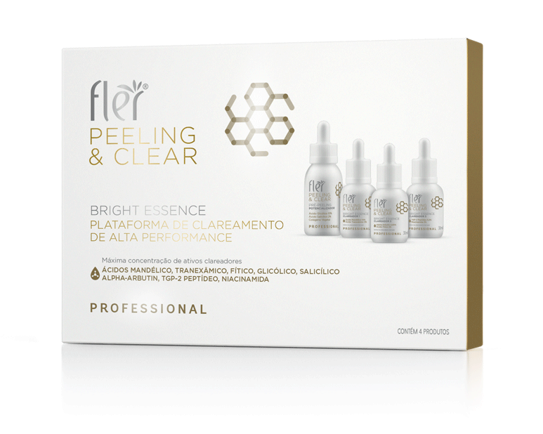 Kit Bright Essence Peeling e Clear Plataforma De Clareamento De Alta Performance Flér