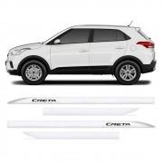 Jogo Friso Lateral Hyundai Creta Branco Polar Slim 4 Peças