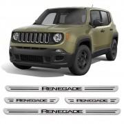 Jogo Soleiras Resinadas de Porta Personalizada Jeep Renegade 4 Peças Aço Escovado (SLR13)