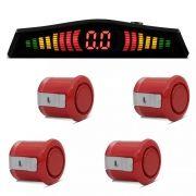 Kit Sensor de Estacionamento Ré 4 pontos Vermelho Standard LED Colorido (KSE09)
