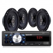 Kit Som Automotivo Multilaser Mp3 One USB + 4 Alto Falantes 6
