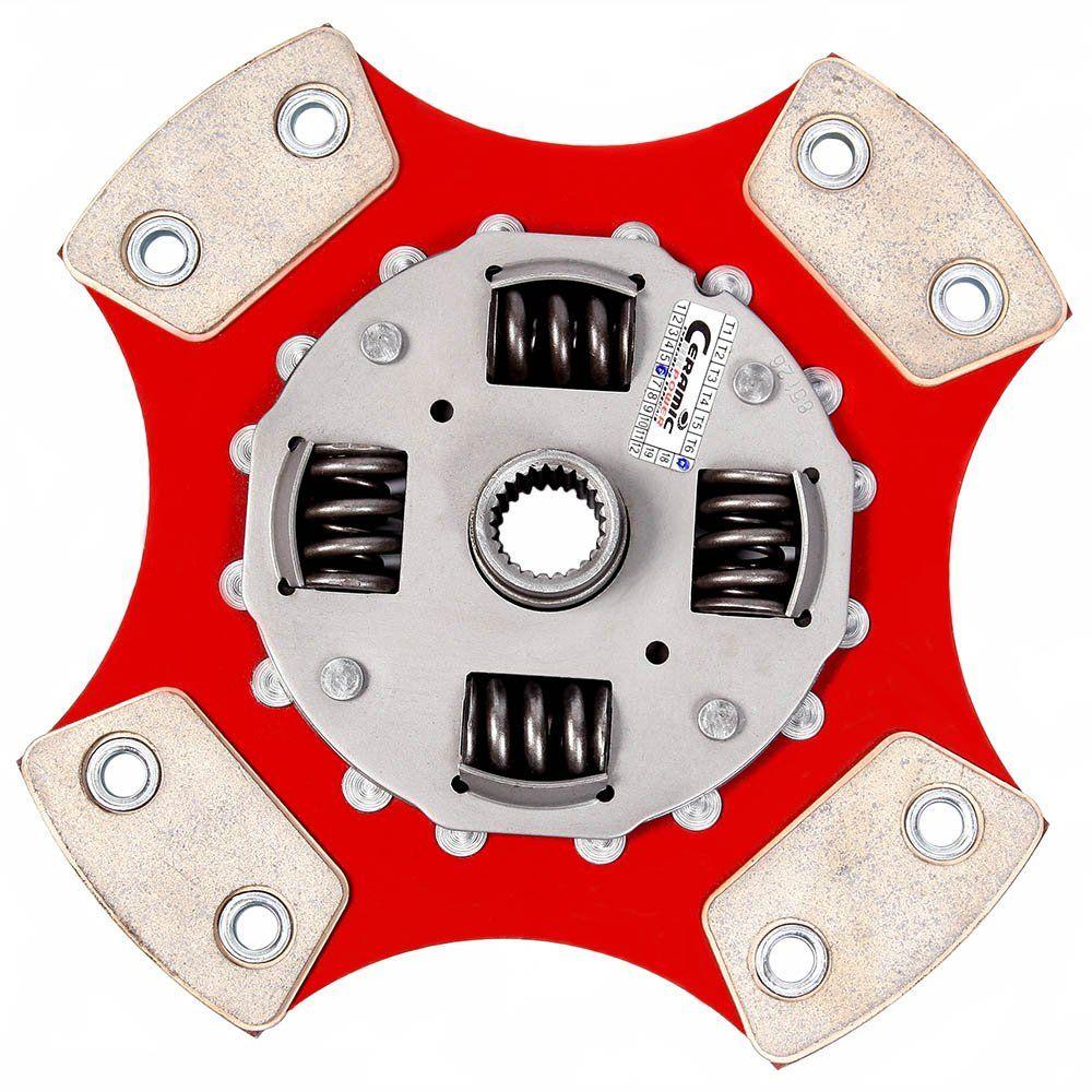 Disco de Cerâmica 4 pastilhas com molas Fiesta 1.3 Importado 190mm 17 estrias Ceramic Power