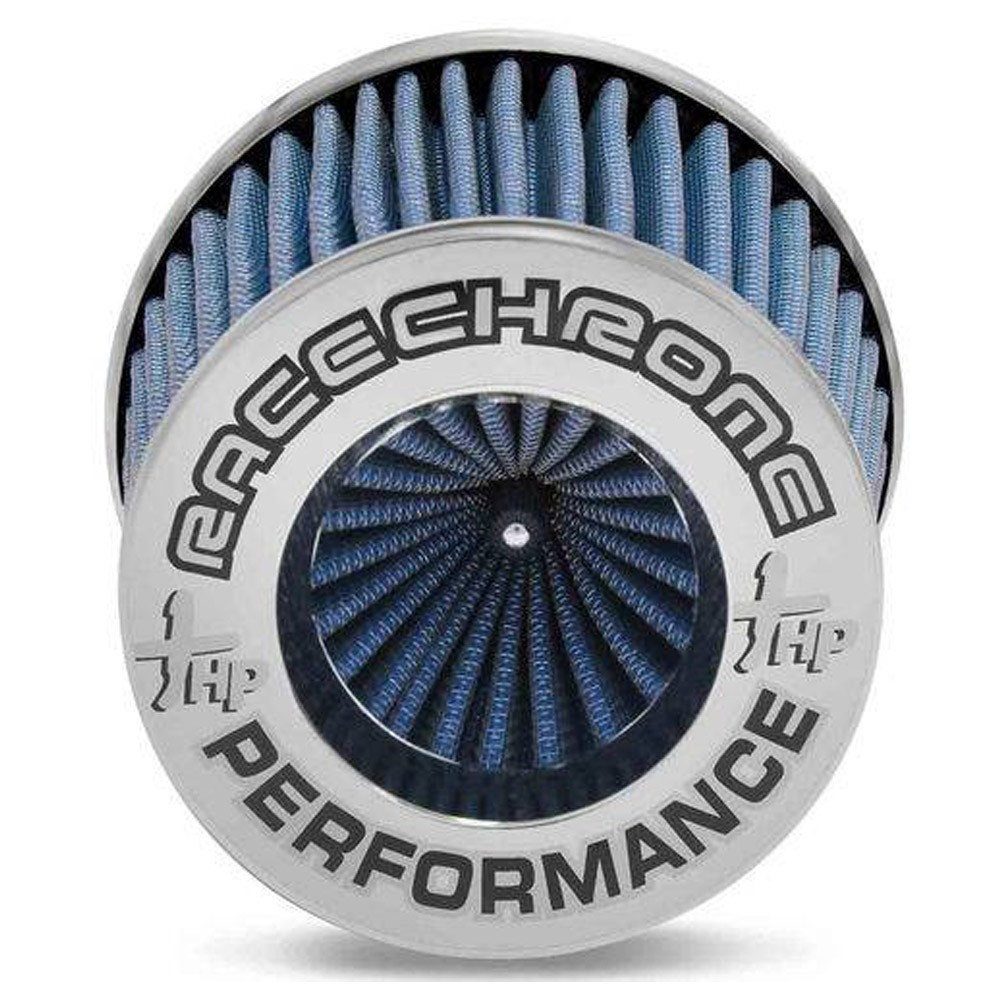 Filtro de Ar Esportivo Duplo Fluxo Race Chrome Médio Azul