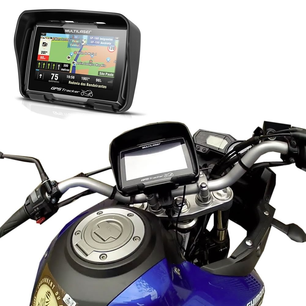 GPS Multilaser Tracker Moto 4,3 Polegadas Touch Screen Bluetooth Resistente a Água - GP040 (GPS05)