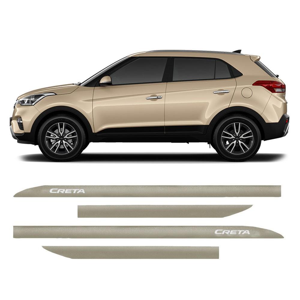 Jogo Friso Lateral Hyundai Creta Prata Sand Slim 4 Peças