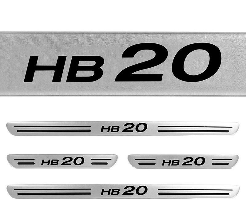 Jogo Soleiras Resinadas de Porta Personalizada HB20 2012 a 2017 4 Peças Aço Escovado (SLR08)