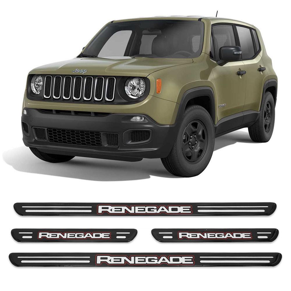 Jogo Soleiras Resinadas de Porta Personalizada Jeep Renegade 4 Peças Preta (SLR12)