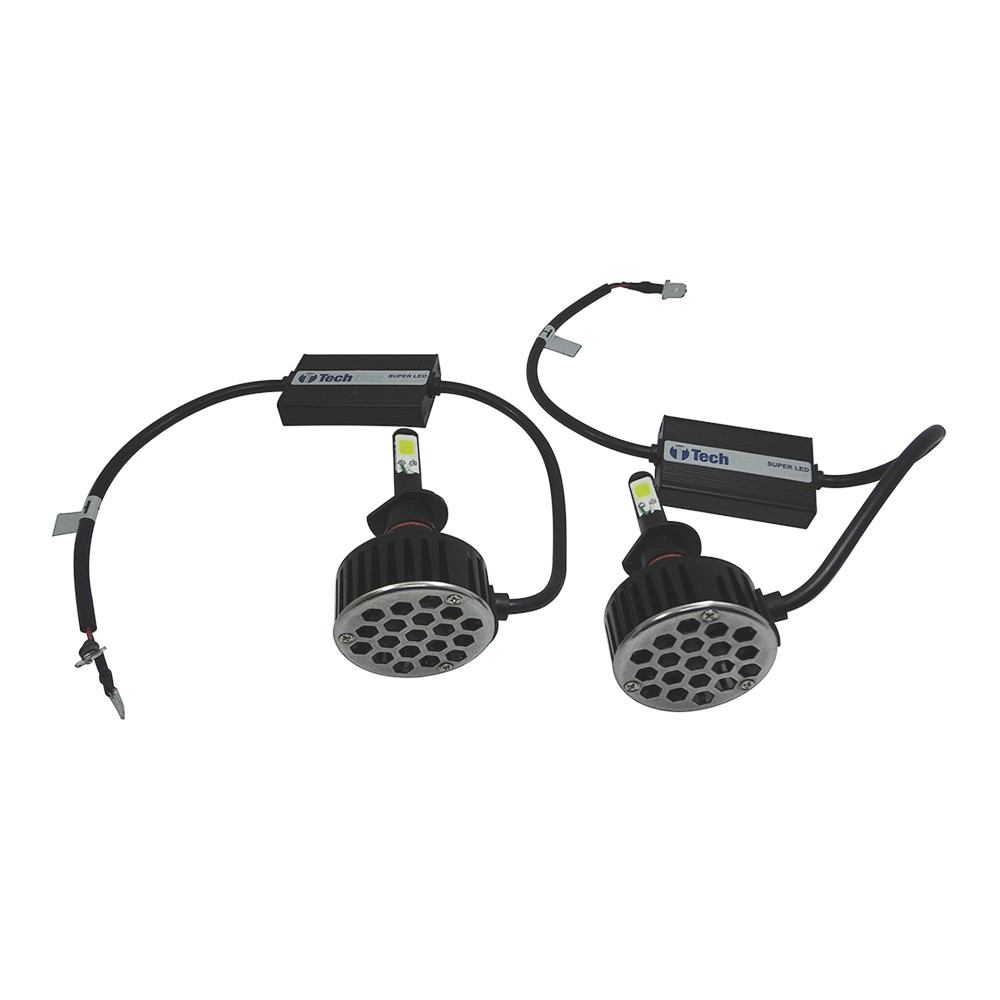 Kit Lâmpada Super LED H1 6000k 12V e 24V 24W 3700LM Efeito Xenon - Tech One