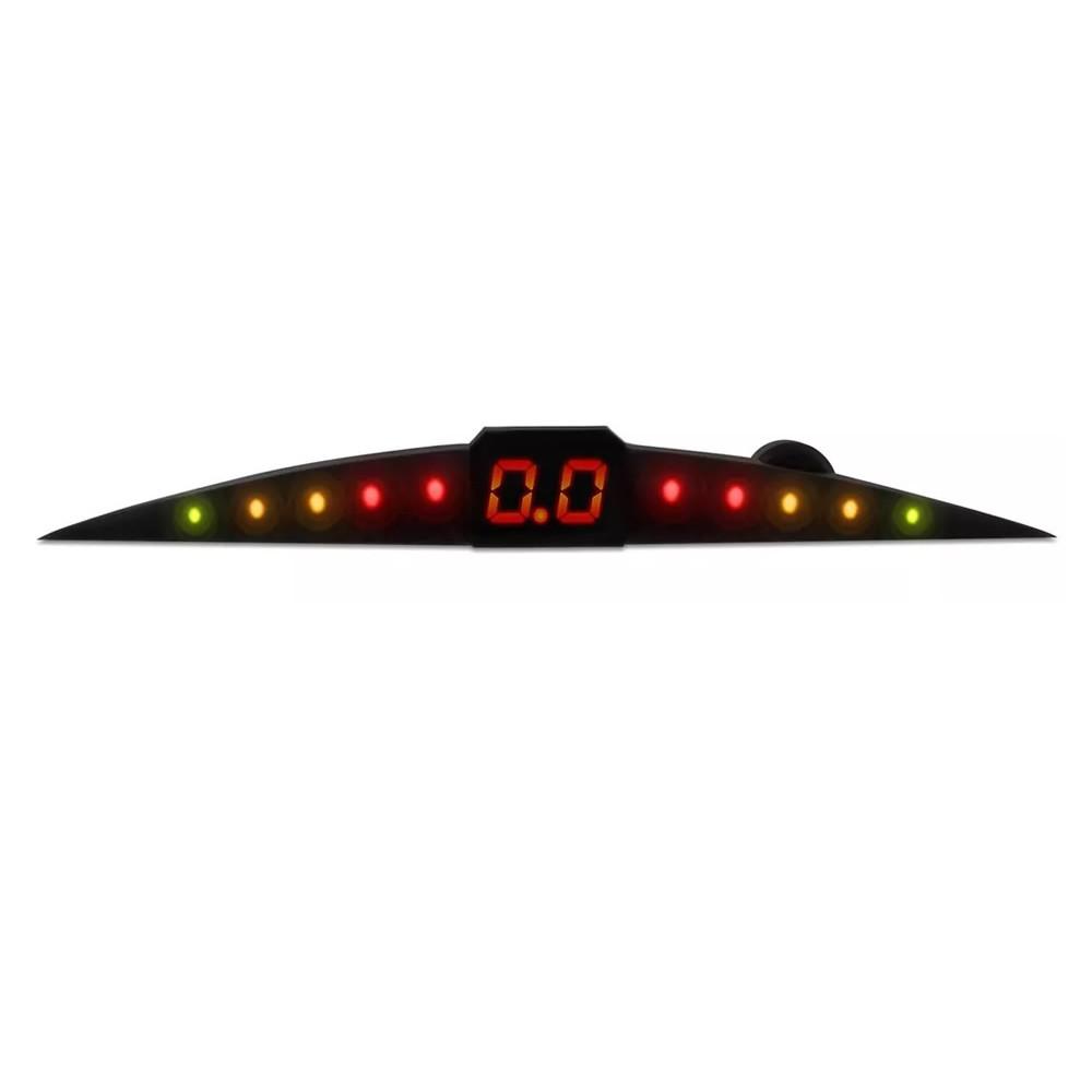 Kit Sensor de Estacionamento Ré 4 pontos preto LED Colorido (KSE01)