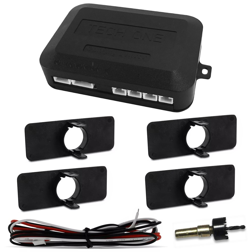 Kit Sensor de Estacionamento Ré Modelo Original (OEM) 4 pontos preto LED Colorido (KSE03)