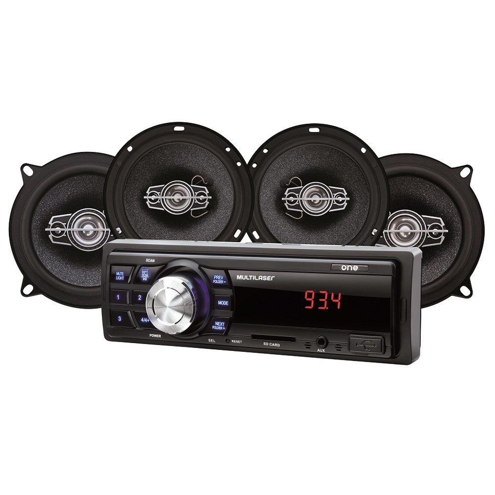 "Kit Som Automotivo Multilaser Mp3 One USB + 1 Par Alto Falantes 5"" e 1 Par Alto Falantes 6"" - AU954 (KSA02)"