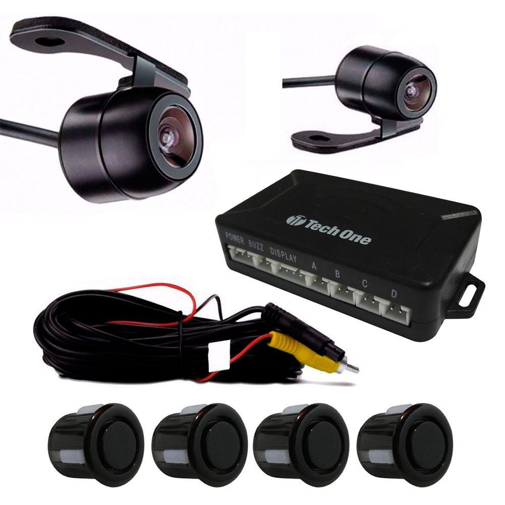 """Retrovisor com Display 4,3"""" LCD Câmera de Ré 2 em 1 e Sensor de Estacionamento 4 Pontos (KSE10)"""
