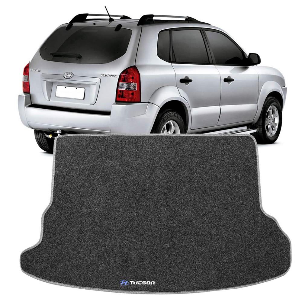 Tapete Carpete Porta Malas Hyundai Tucson 2005 a 2015 Grafite Logo Bordado (TPC09)