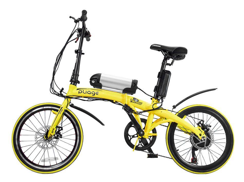 Bicicleta Dobrável Pliage + Kit Elétrico Amarelo Two Dogs