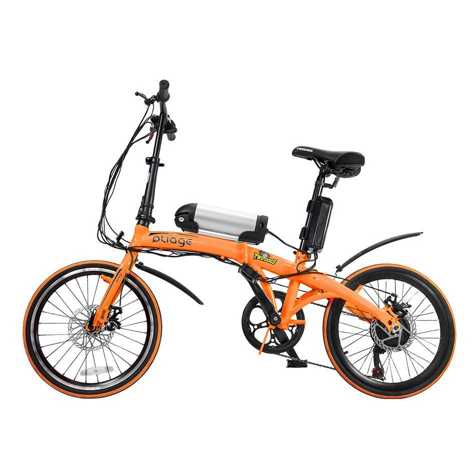 Bicicleta Dobrável Pliage + Kit Elétrico Laranja Two Dogs