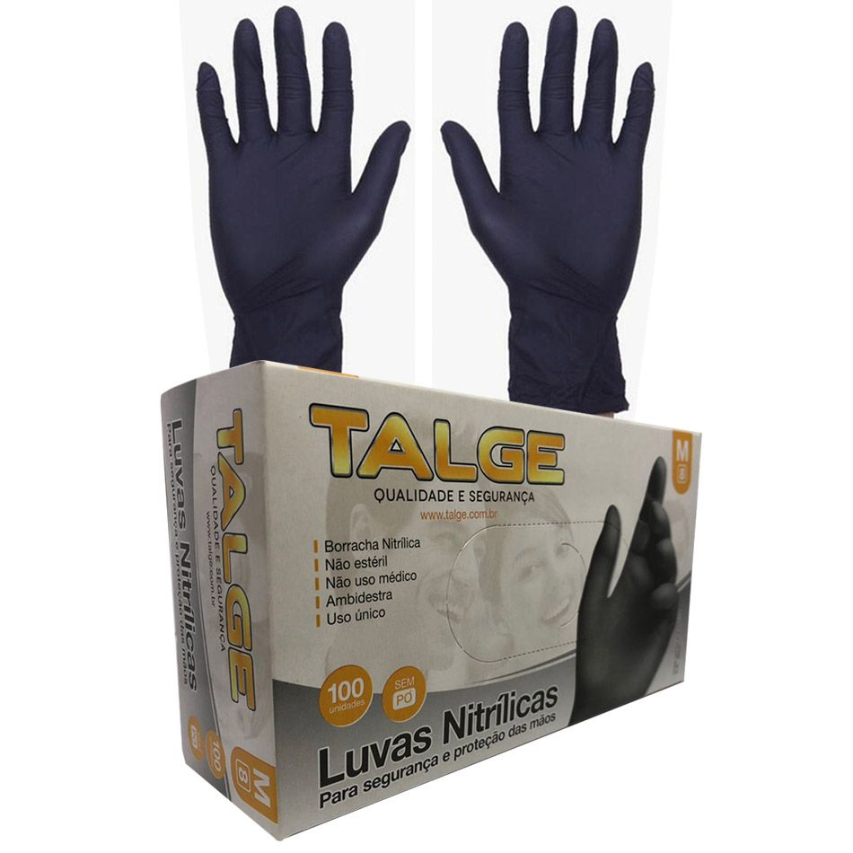 Caixa de Luvas Nitrílicas Preta Tamanho M (100 unid) Talge