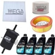 Kit Filtro Ar Cabine + Combustivel + Oleo + Ar + 4 Litros Oleo Motor Elaion 5W40 Sintetico - Logan 2007 A 2010 / Sandero 2007 A 2010 - Kit00531