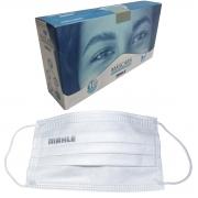 Máscara Facial Camada Dupla Proteção Com Elástico e Clip Nasal Ajuste no Nariz Caixa Com 10 Unidades Descartável - MAHLE