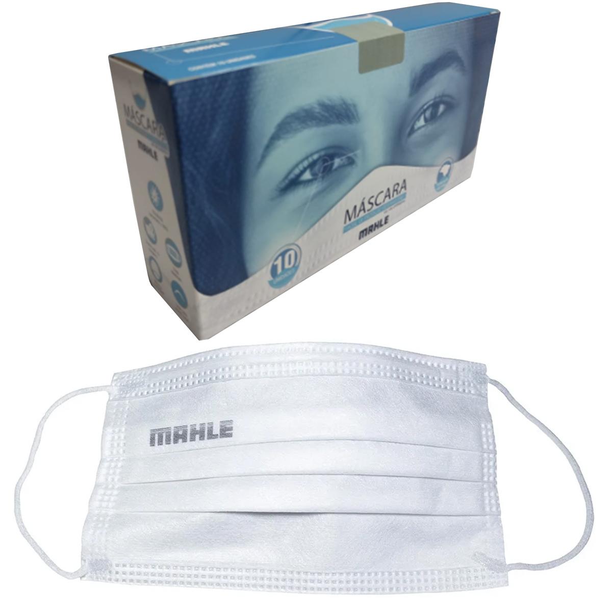 Máscara Facial Camada Dupla Proteção Com Elástico e Clip Nasal Ajuste no Nariz Caixa Com 10 Unidades Descartável - MAHLE  - Conexao Brasil Autopeças