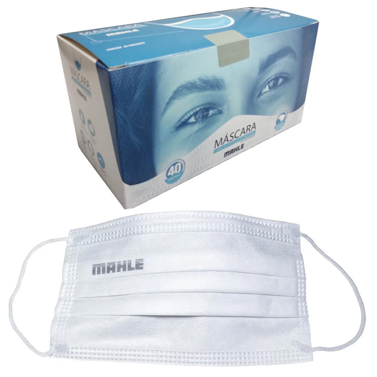 Máscara Facial Camada Dupla Proteção Com Elástico e Clip Nasal Ajuste no Nariz Caixa Com 40 Unidades Descartável - MAHLE  - Conexao Brasil Autopeças