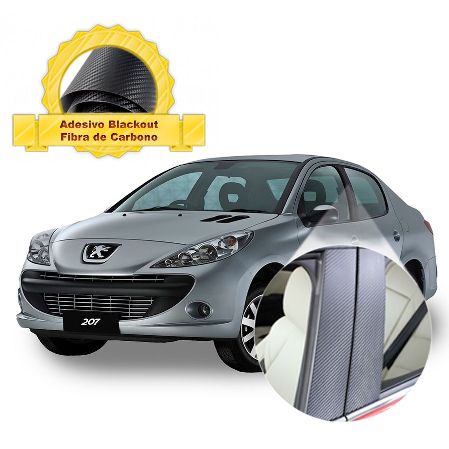 Adesivo Blackout 207 Sedan p/ Coluna de Porta Fibra de Carbono