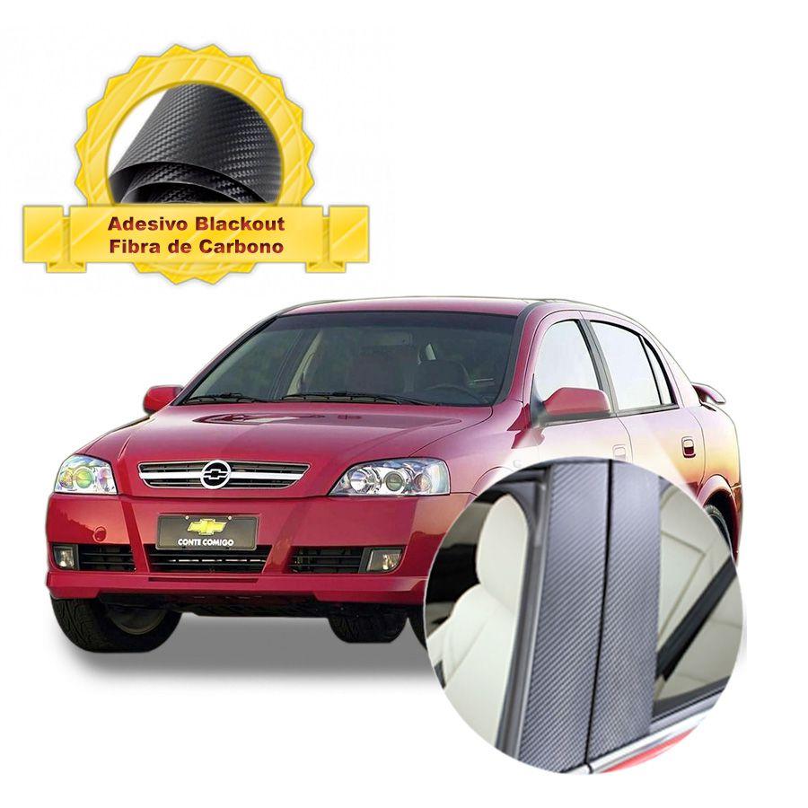 Adesivo Blackout Astra Portas p/ Coluna de Porta Fibra de Carbono