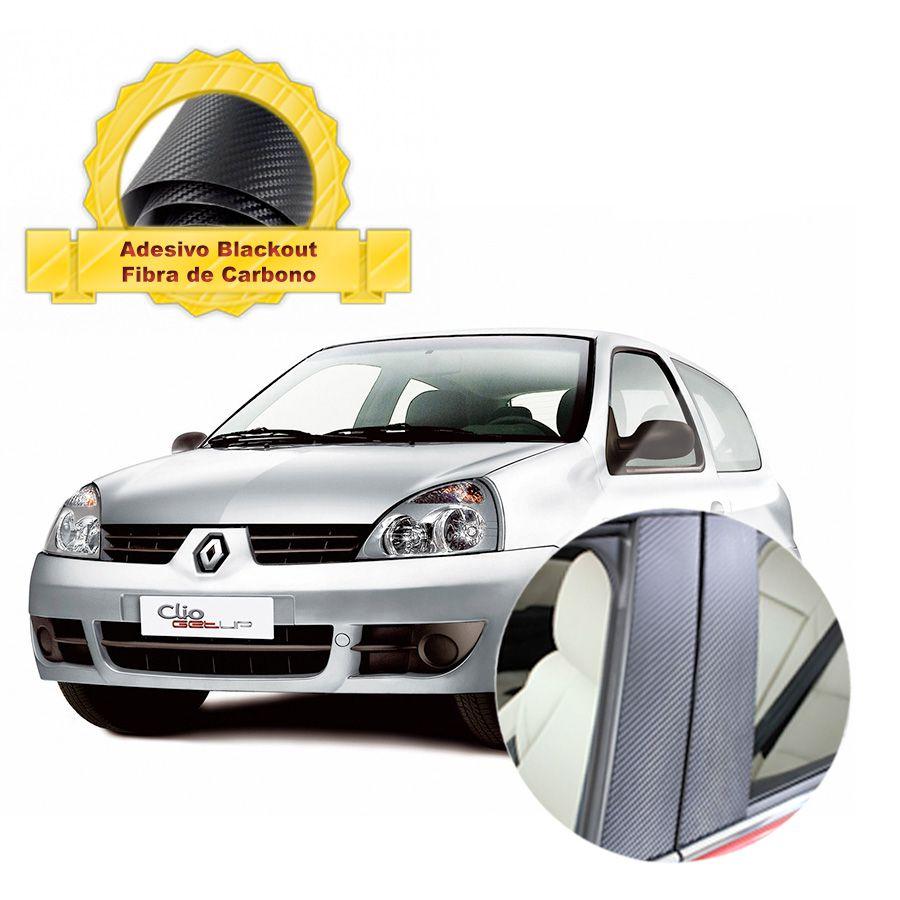 Blackout Clio 00 05 portas Coluna de Porta Fibra Carbono