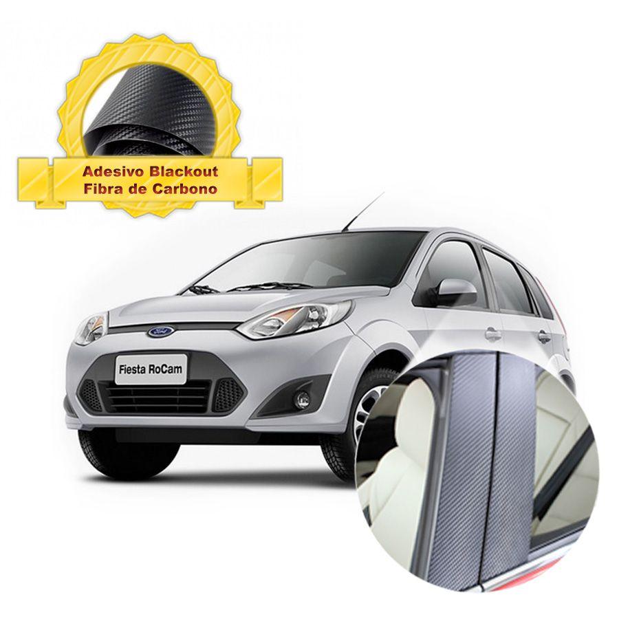 Adesivo Blackout Fiesta Hatch 00 em diante Fibra de Carbono 6 peças