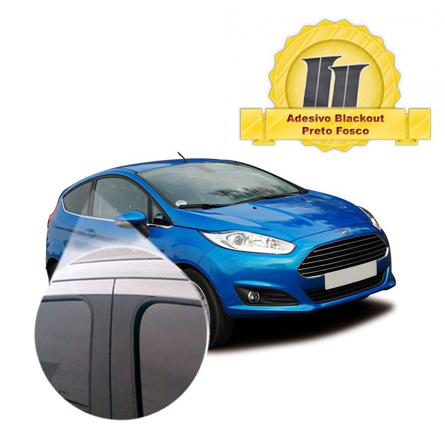 Adesivo Blackout Fiesta Hatch 00 em diante para Coluna de Porta Preto Fosco 6 peças