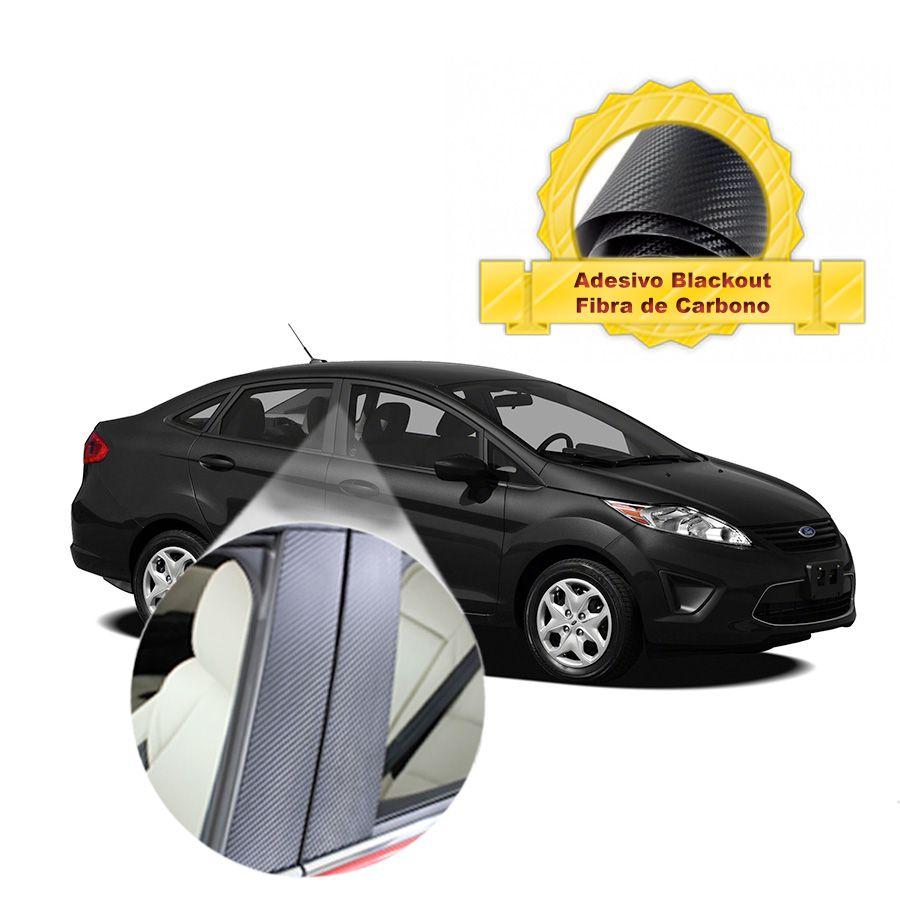 Adesivo Blackout Fiesta Sedan 00 em diante Fibra de Carbono 6 peças