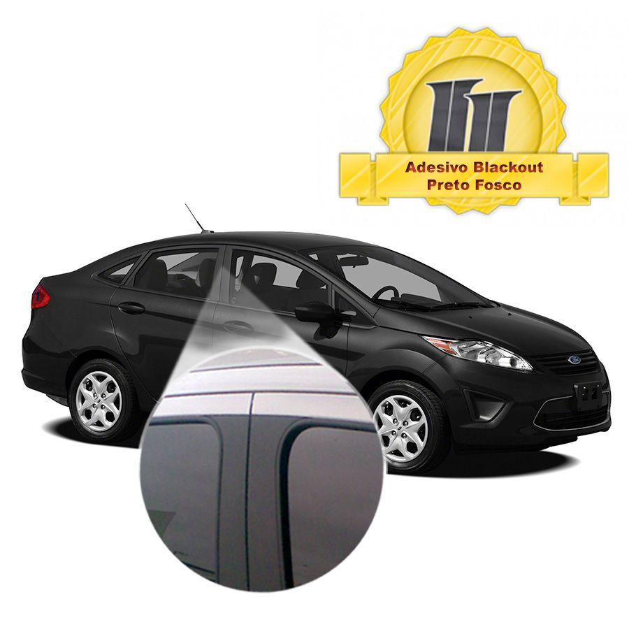 Adesivo Blackout Fiesta Sedan 00 em diante p/ Coluna de Porta Preto Fosco Poroso 6 peças