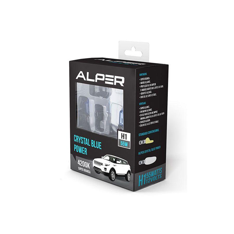 Lâmpada Super Branca Alper Chrystal Blue Power H1 55W